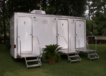 Mobile Restroom Three Stall Mobile Royal Restrooms - Bathroom trailer rentals