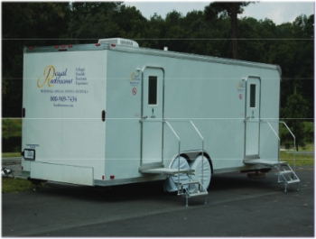 royal restrooms ten stall luxury portable restroom trailers accommodate larger events and groups - Bathroom Trailers