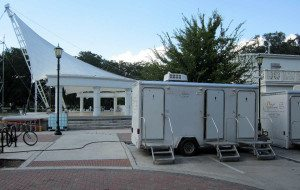 Portable restroom trailers for fund raising events