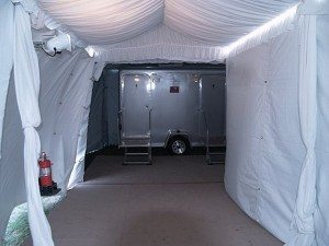 Luxury portable restrooms inside of tent