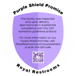 Royal Restrooms Purple Shield COVIF-19 Coronavirus Promise
