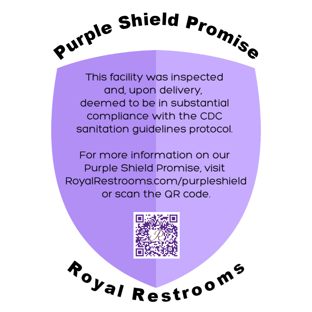 Royal Restrooms Purple Shield COVIF-19 Coronavirus Promise